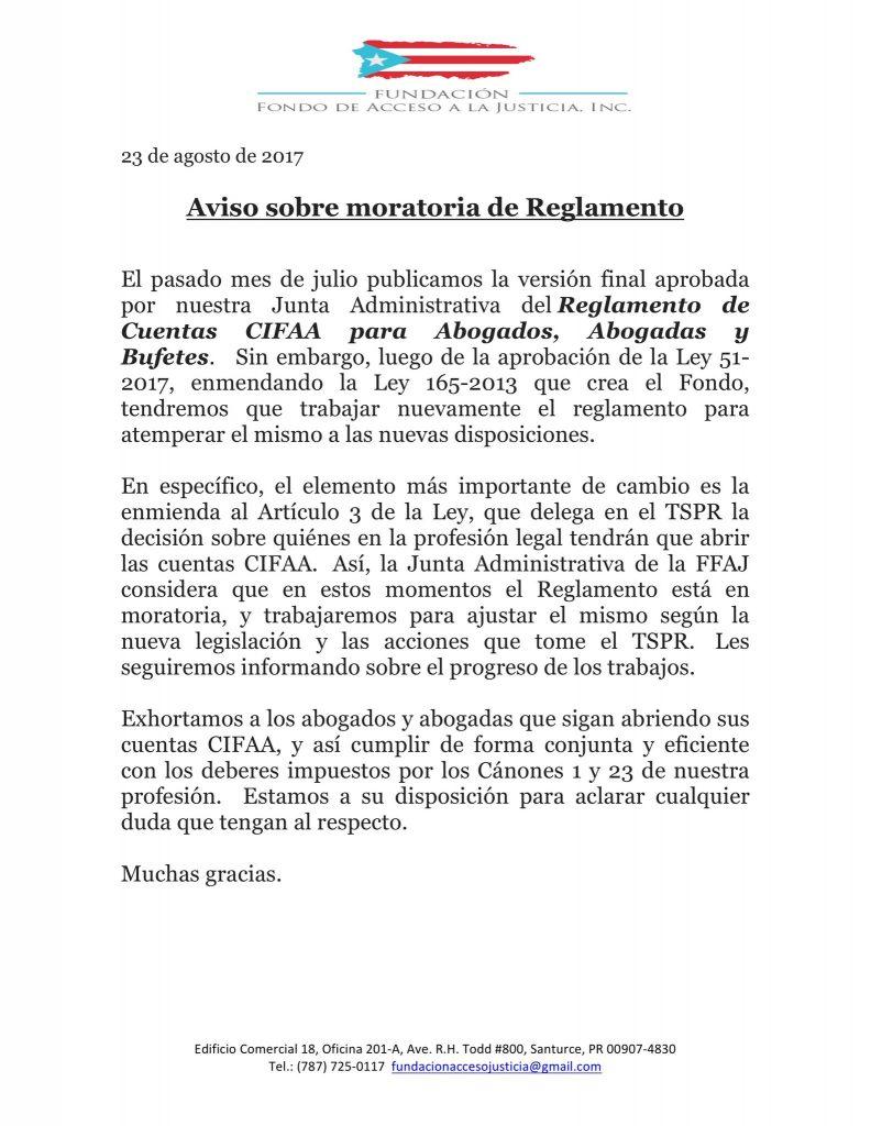 Aviso sobre moratoria de Reglamento cuentas cifaa abogados