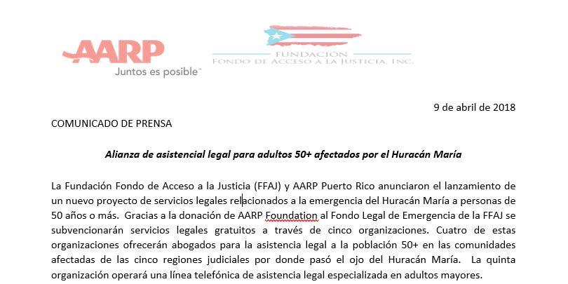 Alianza de asistencial legal para adultos 50+ afectados por el Huracán María