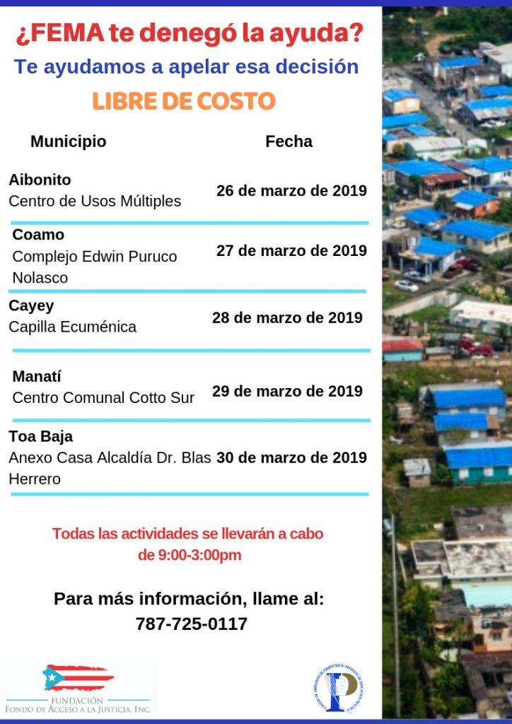 Calendário de Asistencia Legal Gratis FEMA Puerto Rico