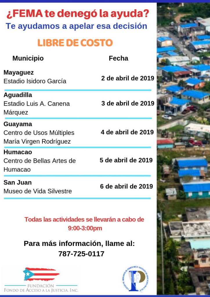 Calendário de Abril de Asistencia Legal Gratis FEMA Puerto Rico